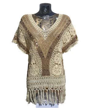 Tunique beige en crochet