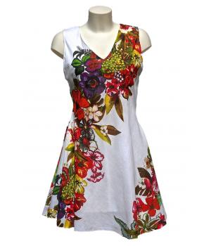 Robe blanche imprimée fleurs